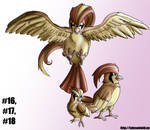 Pidgey Family- Gotta Draw 'Em All 16-18 by Punished-Kom