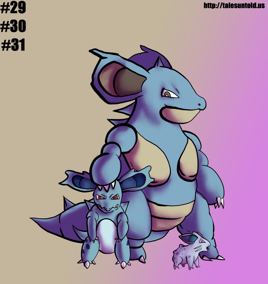 Nidoran(F) Family- Gotta Draw 'Em All by Punished-Kom