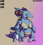 Nidoran(F) Family- Gotta Draw 'Em All by Punished-Kom