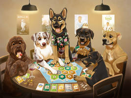 Dogs Playing Catan