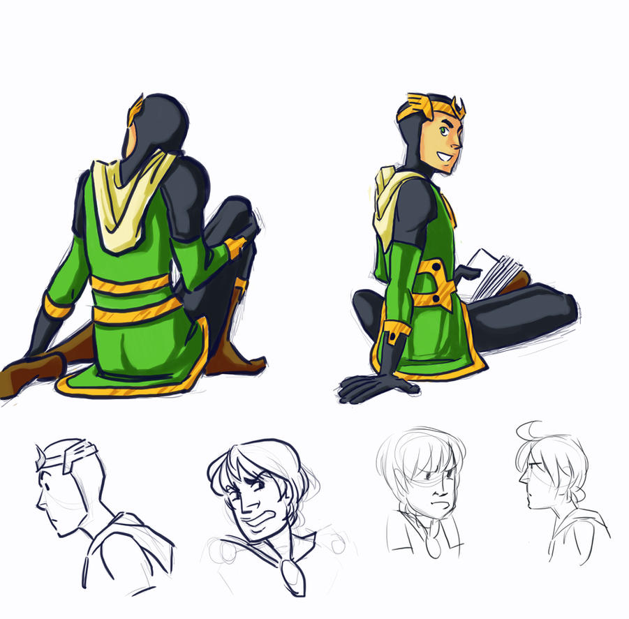 Kid Loki sketches by dances-with-hipsters
