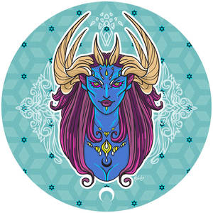 Blue Demoness with Golden Horns