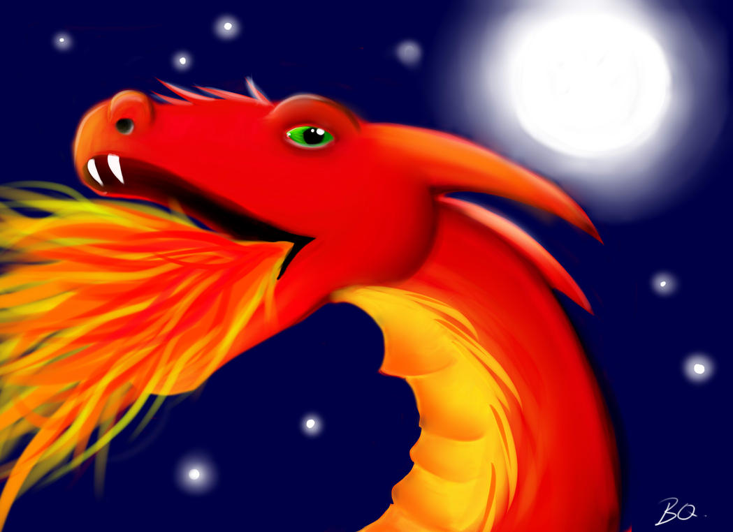Red Fire Dragon by MagicalMerlinGirl
