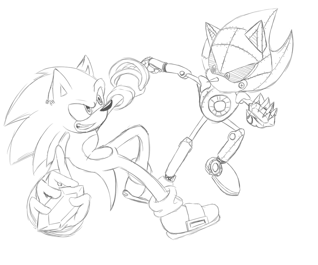 Sonic vs metal sonic coloring pages for Metal sonic coloring pages