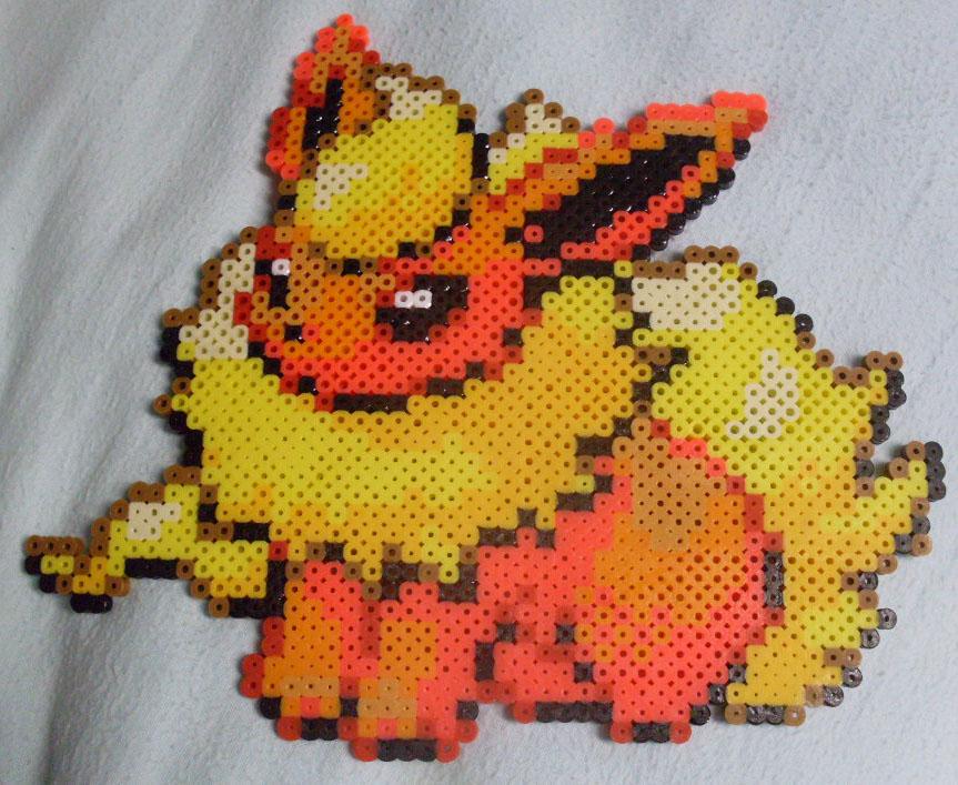 Pokemon: Perler Bead Flareon by heatbish