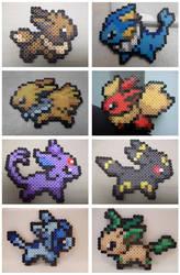 Pokemon: Perler Bead Eeveelutions by heatbish