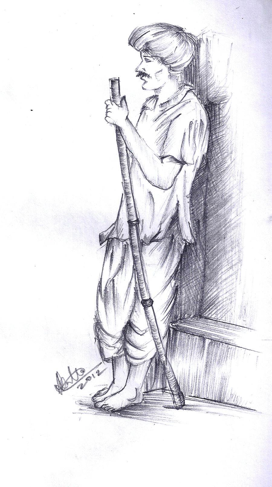 Simple Rajasthani Man Sketch By Alankrita-sweetstar On DeviantArt