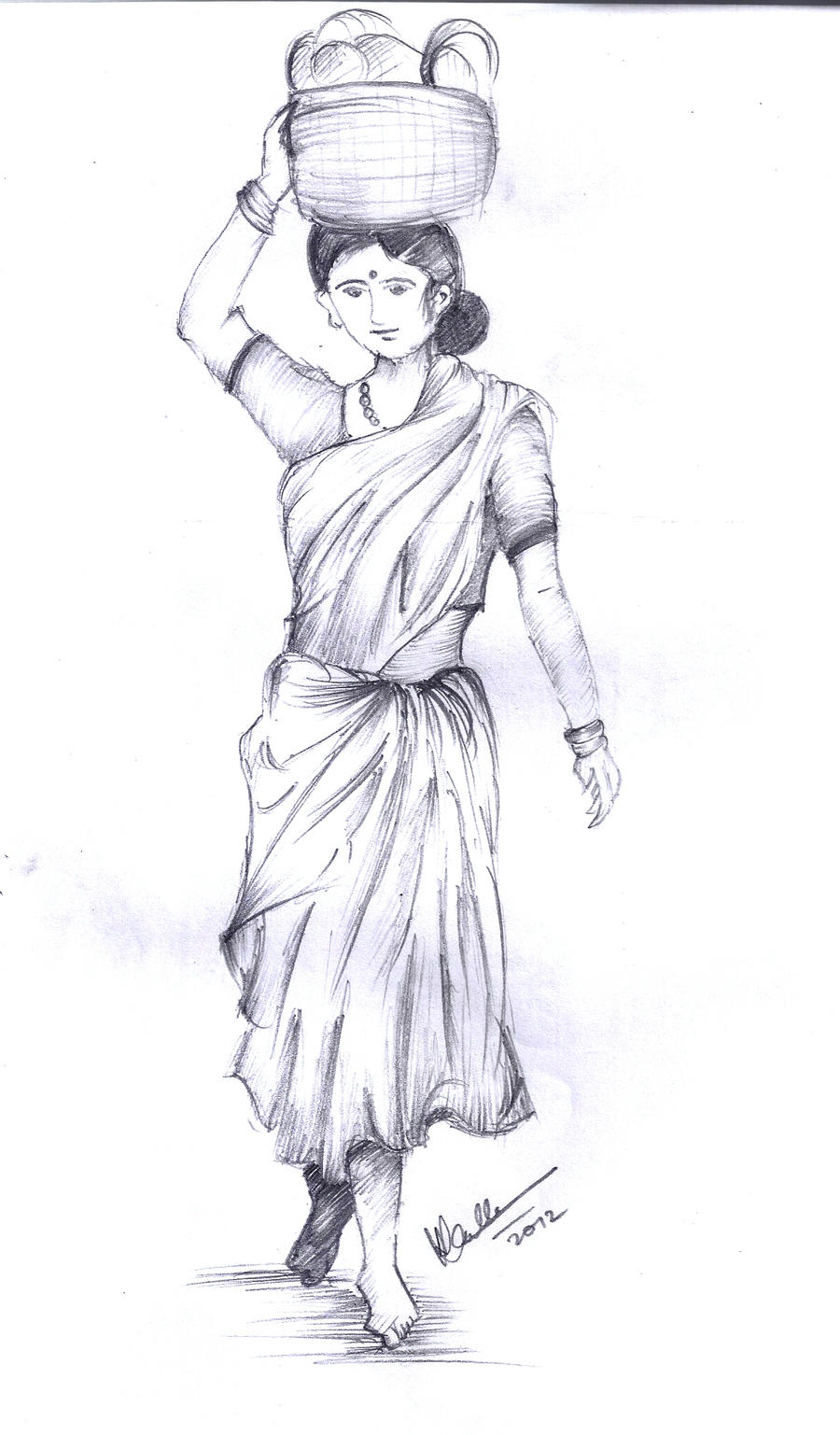Drawing of an india woman 2
