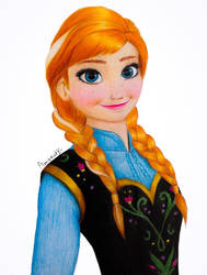 Frozen Anna with Colored Pencils + Drawing Video by Amana-HB