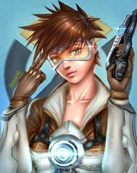 Overwatch Tracer Digital Fanart by Amana-HB