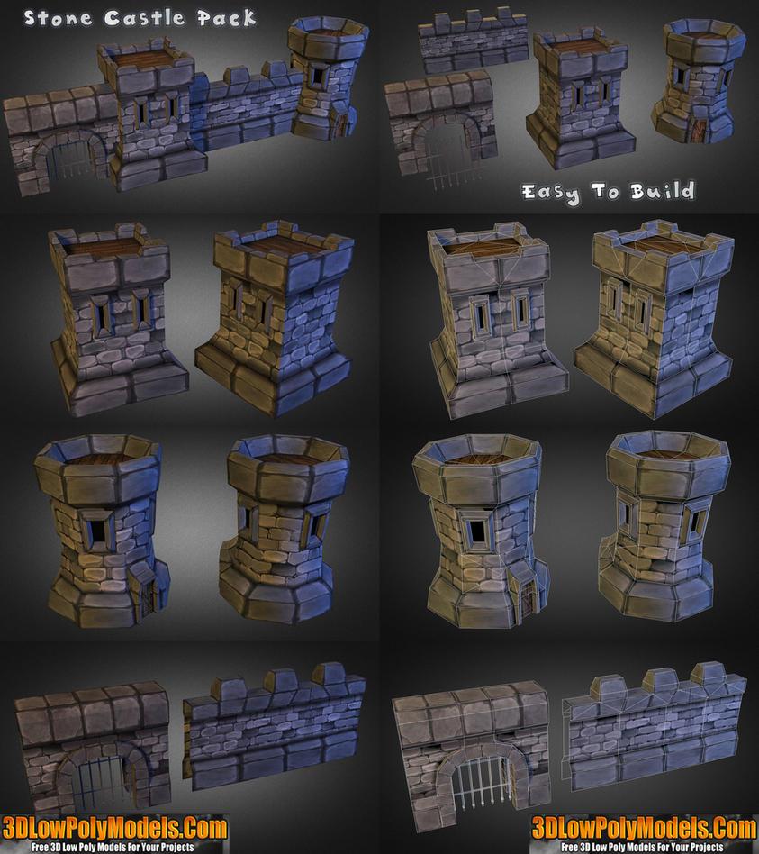 Stone castle builder 3d low poly 3dlowpolymodels by 3dlowpolymodels