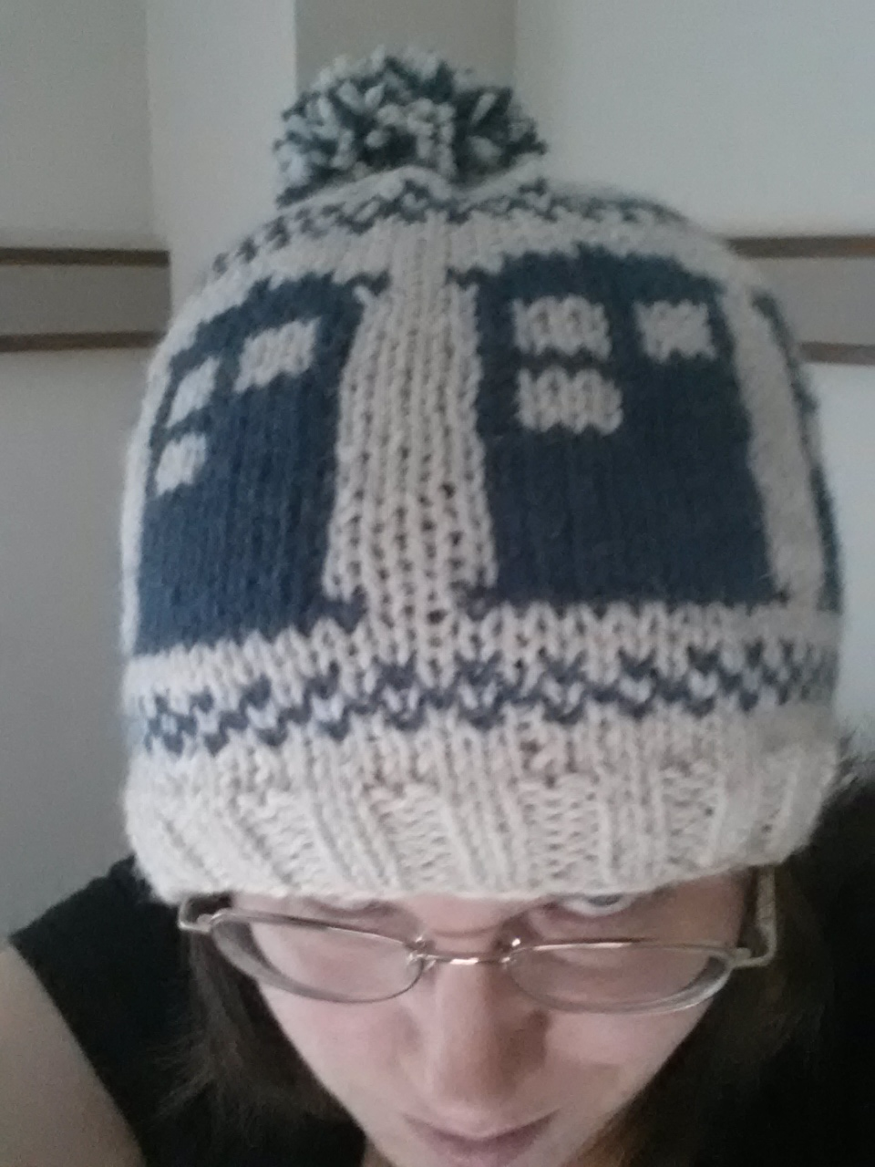 Knitting Pattern Tardis Hat : Knit TARDIS Hat with Pompom by augeeklectic on DeviantArt