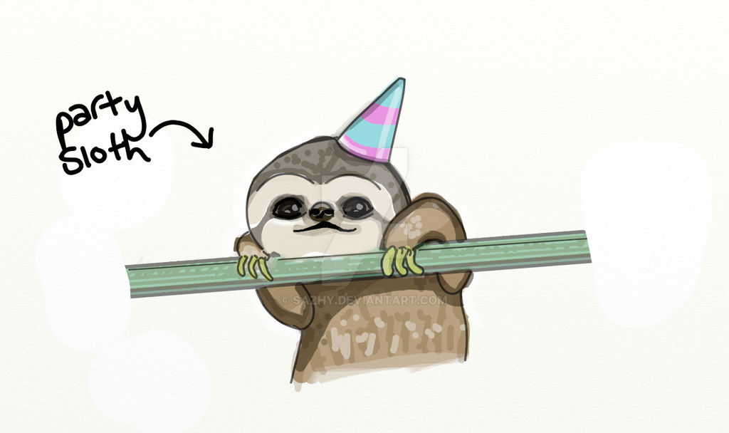 Sloth in party hat - photo#30