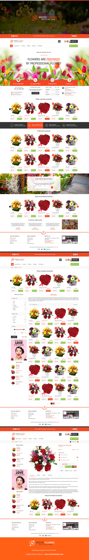 Mystic Flowers -Online Flowers Store Cs-Cart theme by mysticthemes