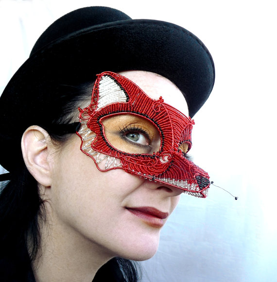 Fox masquerade mask by gringrimaceandsqueak