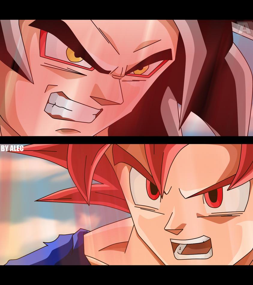 Goku SSJ4 x Goku SSJ God by AnimaArts
