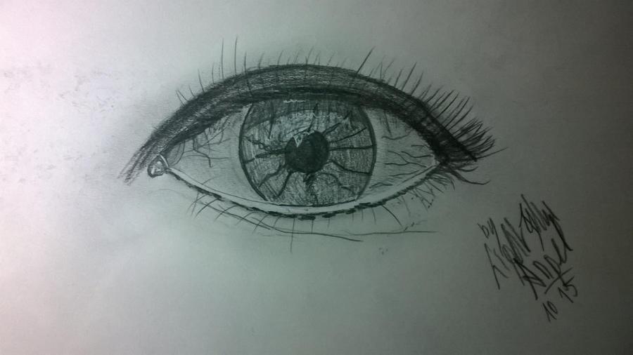 pencil drawing human eye by LightBlueAngel