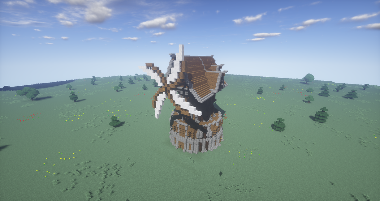 Minecraft Epic Medieval Windmill By ShafroPlaysMinecraft