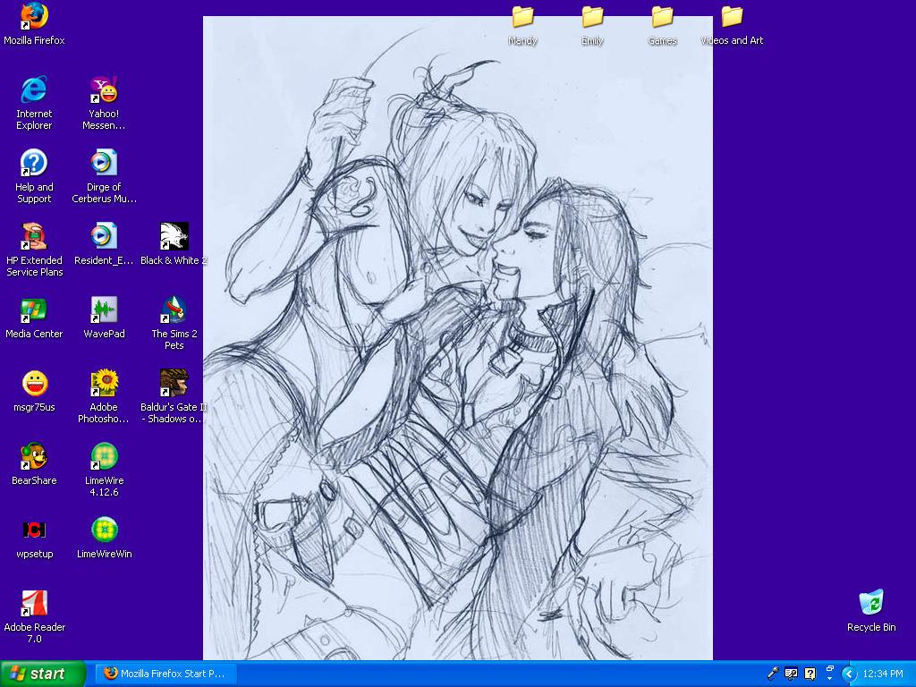 Krishna+Dorian Sketch Desktop by WolfandSquirrel