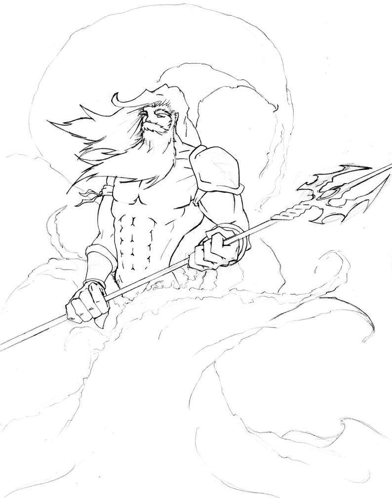 Line Drawing Of Zeus : Poseidon line art picture image