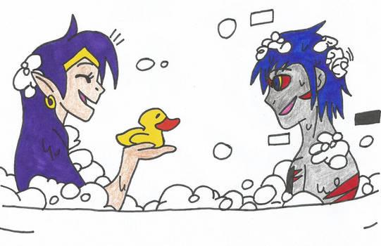 Error And Shantae Taking A Bath Together