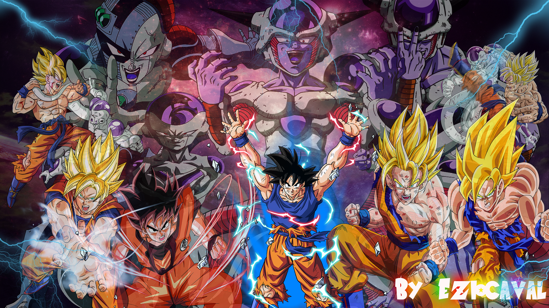 Dibujo De Goku Kakarotto Peleando Contra Vegeta Para: The Ultimate Fight: Goku VS Frieza (Freezer) By Eziocaval