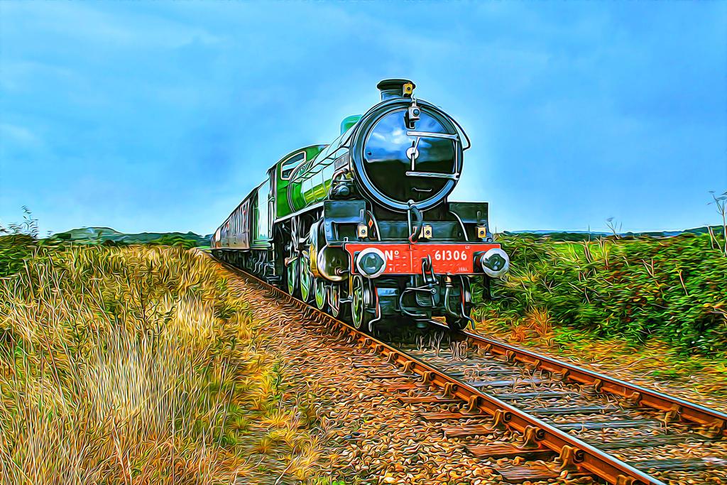 61306 (B12) steam train oil painting effect by PaulCastleton
