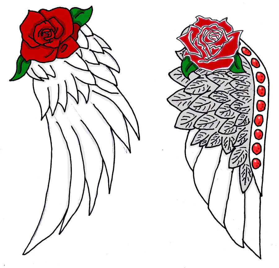 angel wings with rose tattoo by hao chan2 on deviantart. Black Bedroom Furniture Sets. Home Design Ideas