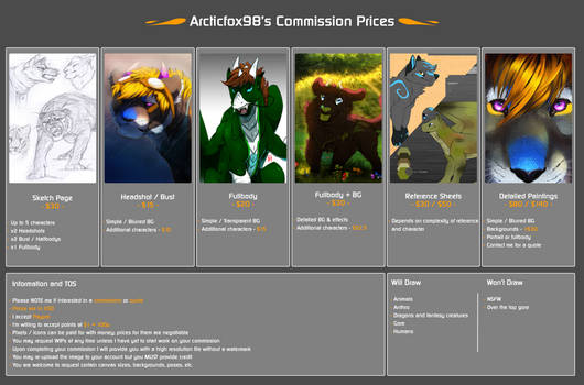 Commission Price Sheet (outdated)