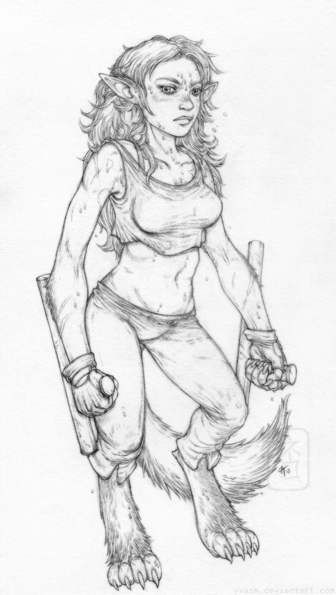 Sergeant Redwolf linework by yvash