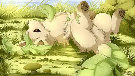 Fluffy Leafeon by Blackkaries