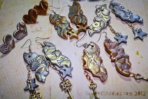 Steampunk Mechanical Bat Earrings by squeekaboo