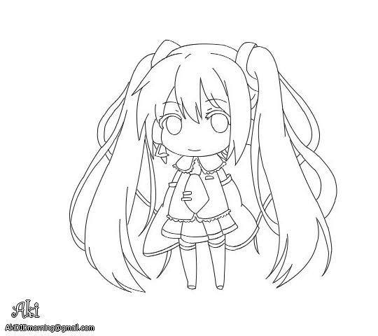 chibi Hatsune Miku - lineart by AkiOrinoco on DeviantArt