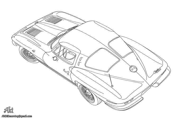 Chevrolet Corvette Sting Ray - lineart by AkiDIDmorning