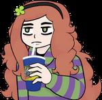 Vivian enjoying an ice cold beverage