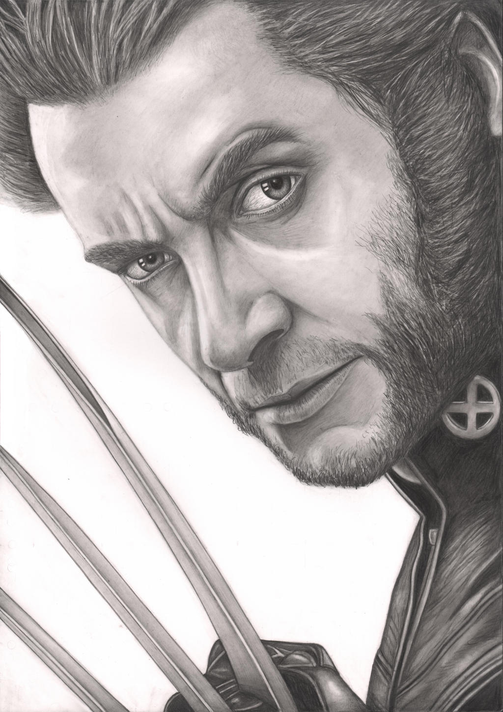 Hugh Jackman Wolverine drawing (no background) by Pen-Tacular-Artist