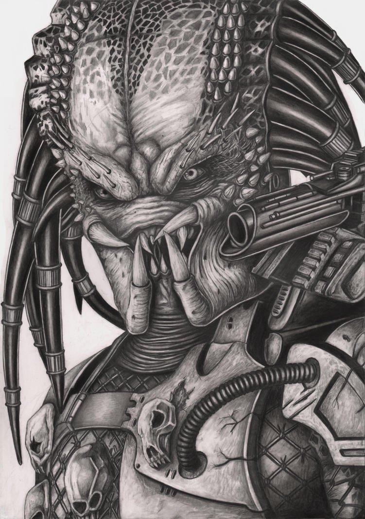 'Predator' graphite drawing by Pen-Tacular-Artist