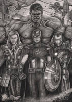 'The Avengers' graphite drawing by Pen-Tacular-Artist