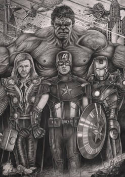 'The Avengers' graphite drawing