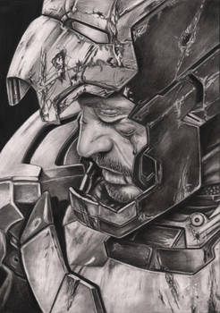 Robert Downey JR 'Iron Man 3' graphite drawing