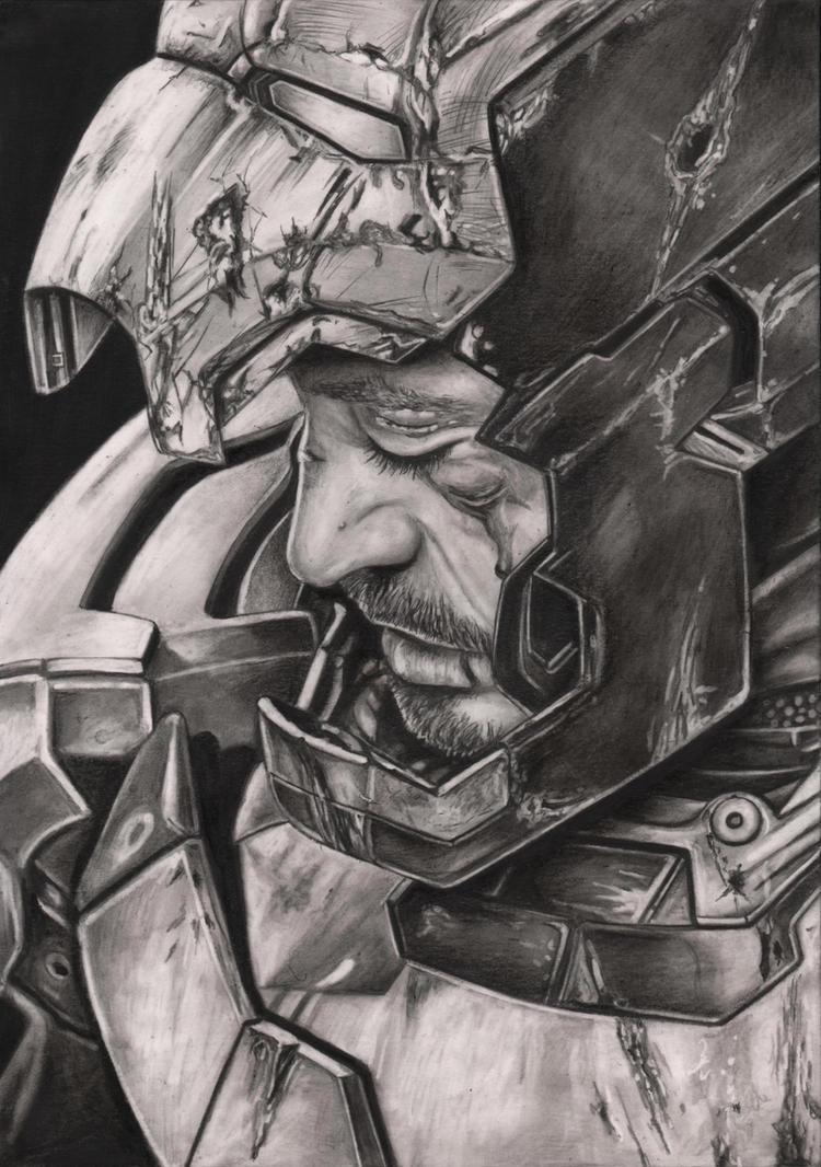 Robert Downey JR 'Iron Man 3' graphite drawing by Pen ...