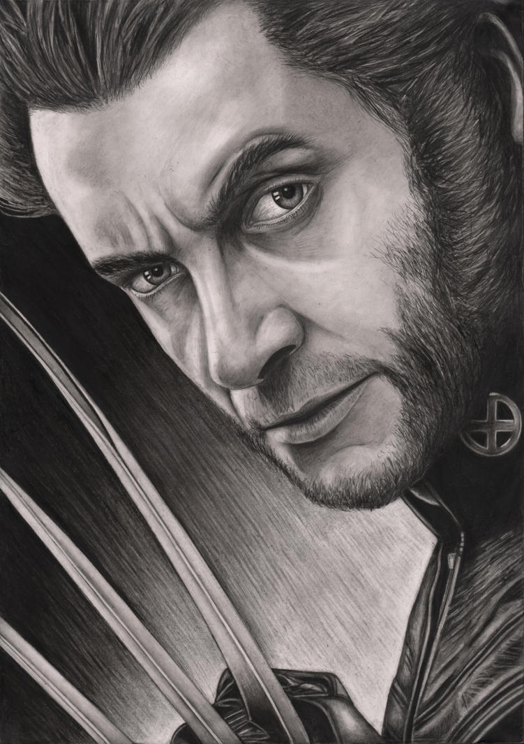 Hugh Jackman 'Wolverine' graphite drawing by Pen-Tacular-Artist