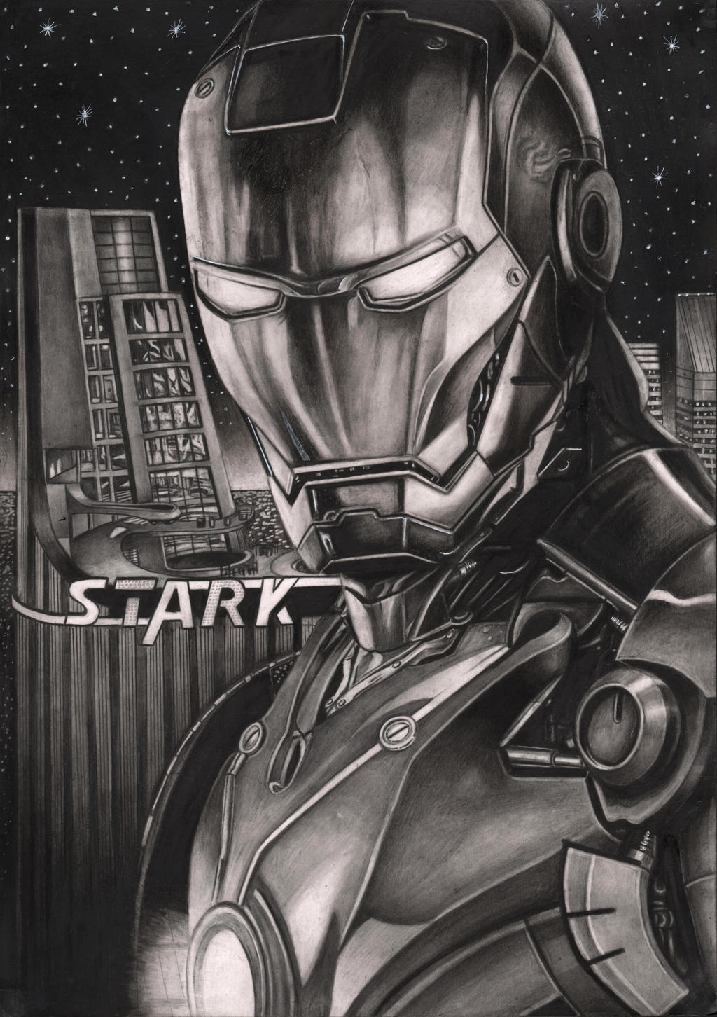 'IRON MAN' graphite drawing by Pen-Tacular-Artist