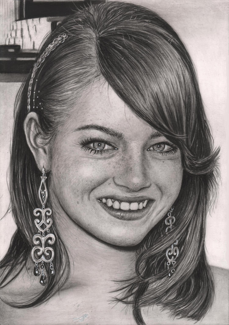 'Emma Stone' graphite portrait by Pen-Tacular-Artist