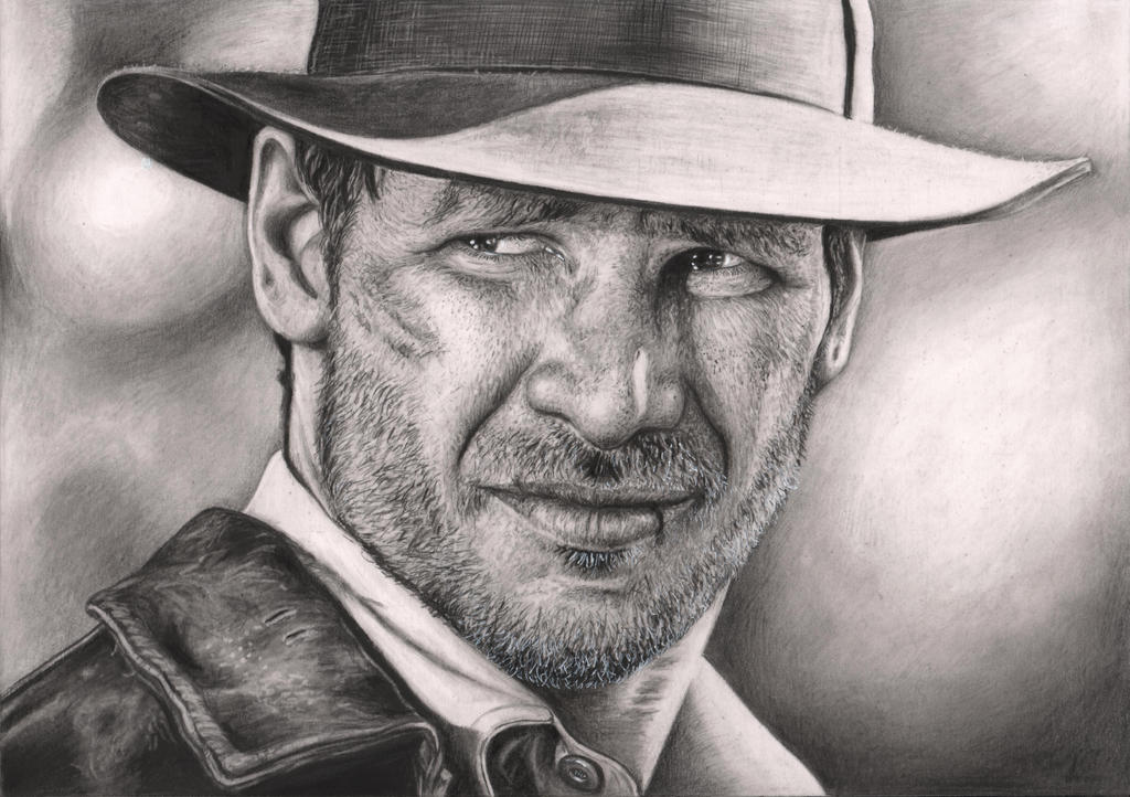 'INDIANA JONES' Harrison Ford  graphite drawing by Pen-Tacular-Artist