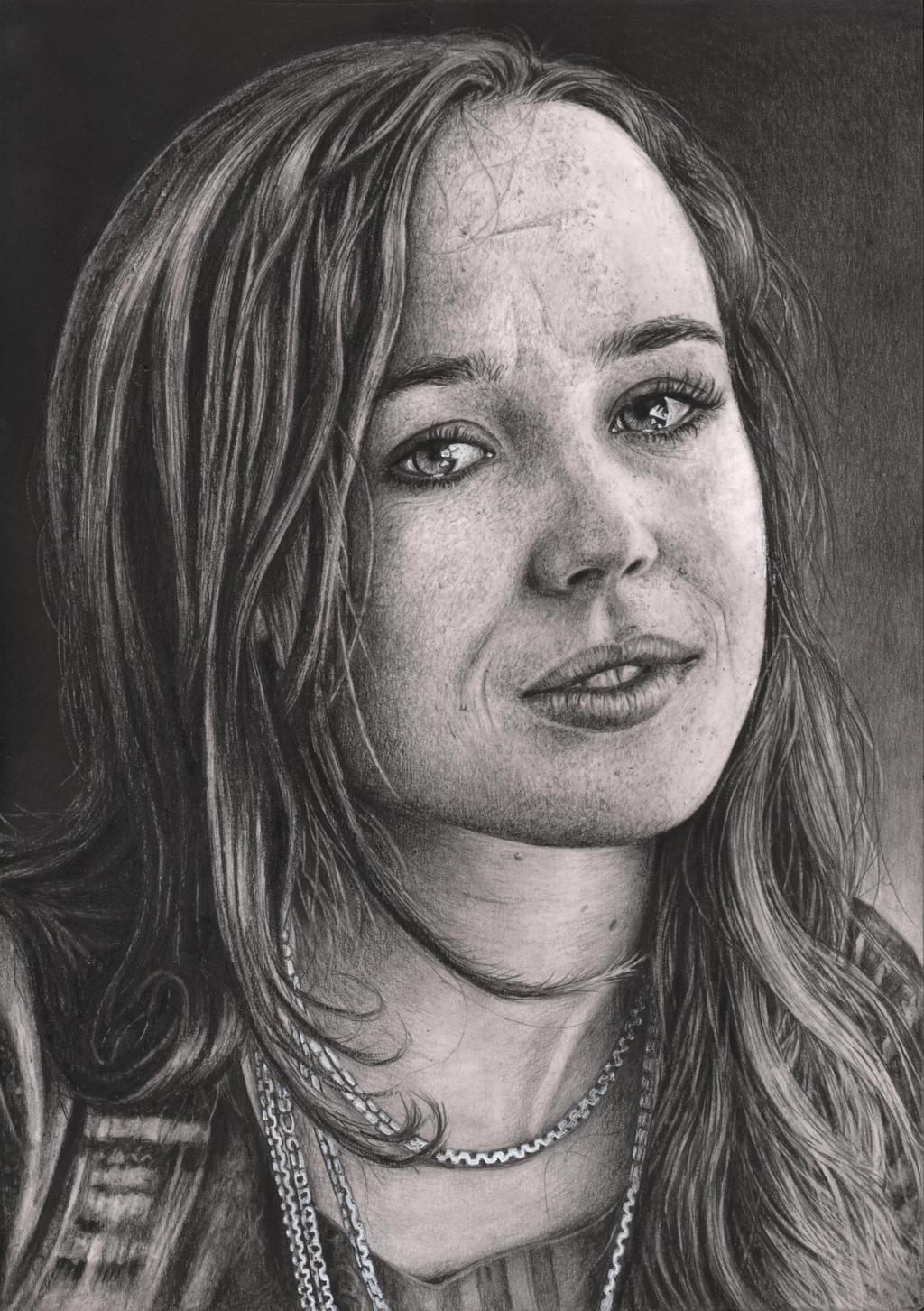 'Ellen Page' graphite portrait