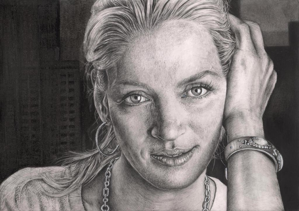 'Uma Thurman' graphite portrait