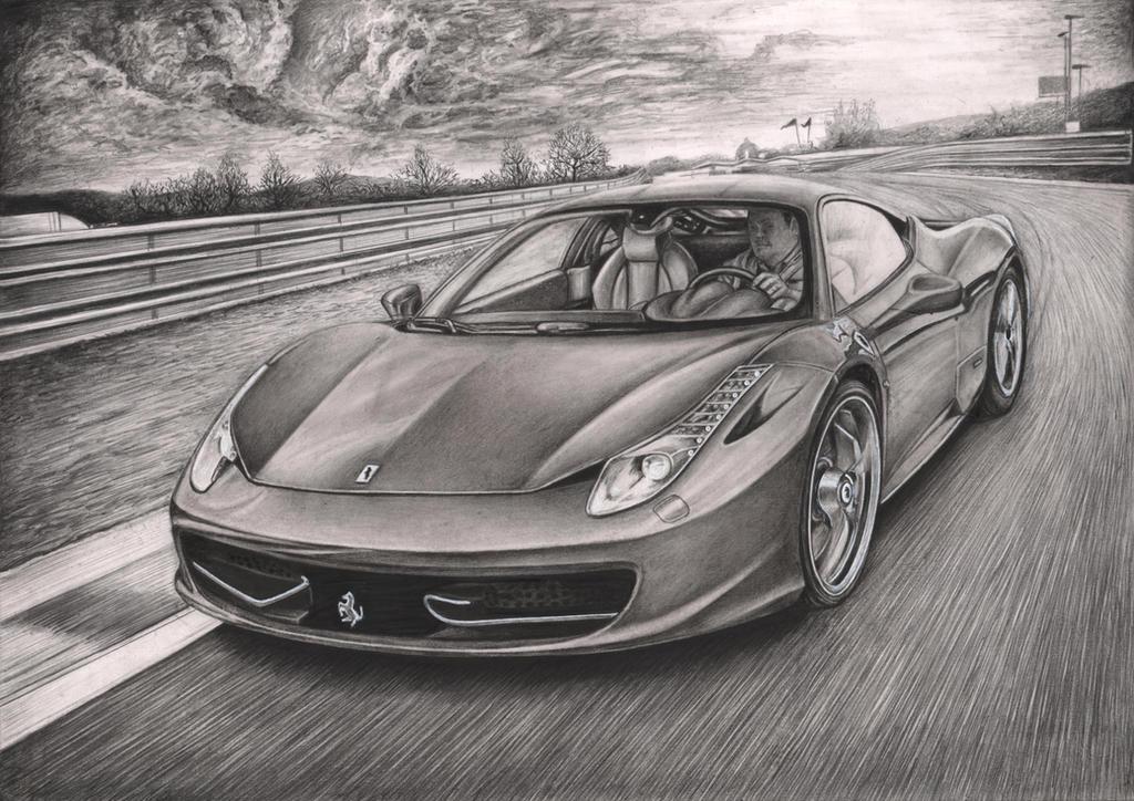 'Ferrari 458 Italia' Graphite drawing by Pen-Tacular-Artist