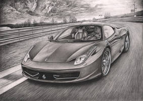 'Ferrari 458 Italia' Graphite drawing