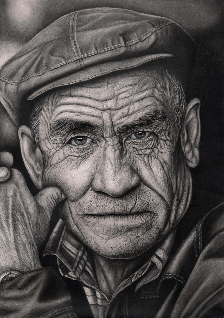 old mans face drawing - photo #3